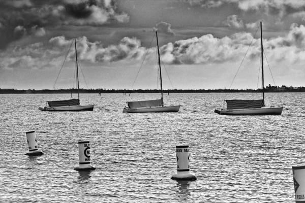 Sailboats Art Print featuring the photograph Three Sailboats by Patrick M Lynch