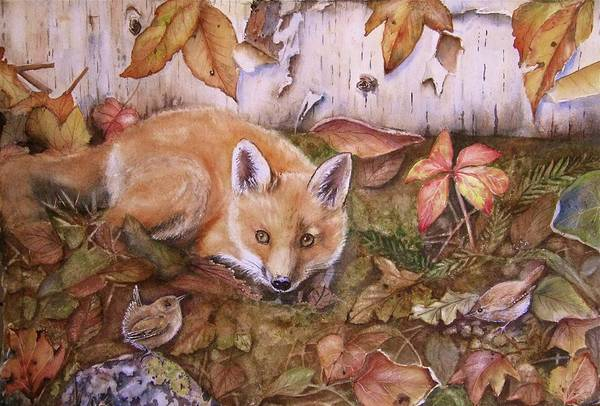 Fox Art Print featuring the painting Three's A Crowd by Patricia Pushaw