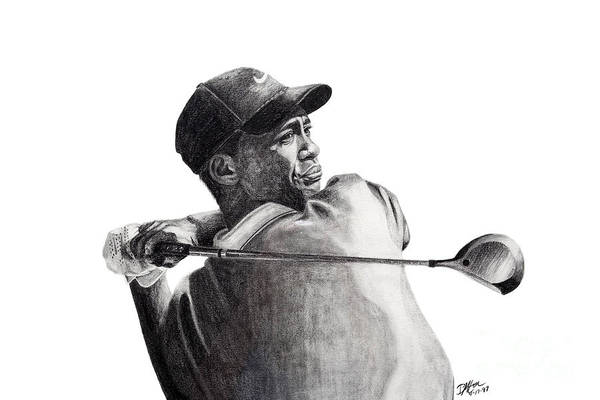 Tiger Woods Art Print featuring the drawing Tiger Follow Through by Devin Millington