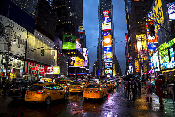 Times Square Art Print featuring the photograph Times Square In The Rain by Garry Gay