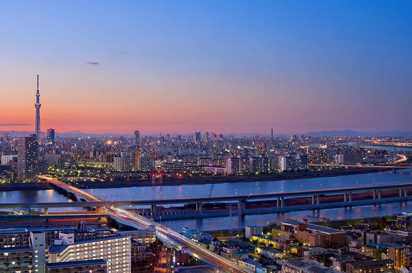Tokyo Art Print featuring the photograph Tokyo As Night Descends by Duane Walker