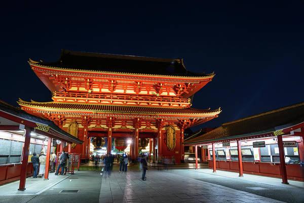 Blurred Motion Art Print featuring the photograph Tokyo, The Sensoji Temple At Night by Hirotaka Ihara