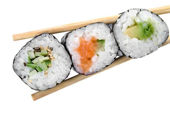 Traditional Japanese Sushi Isolated On White Art Print