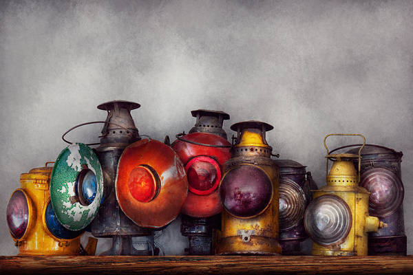 Lantern Art Print featuring the photograph Train - A Collection Of Rail Road Lanterns by Mike Savad