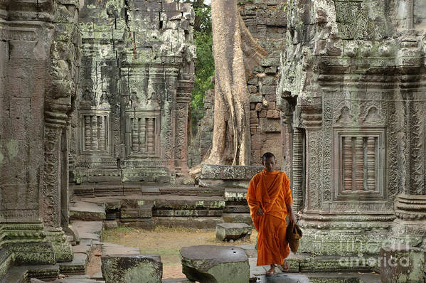 Travel Print featuring the photograph Tranquility In Angkor Wat Cambodia by Bob Christopher
