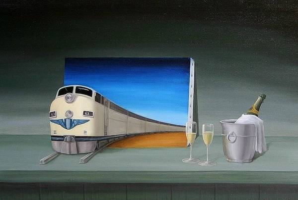 Still Life Train Traveler Green Oilpaint Surreal Surrealism Chapagne Glasses Bottle 3d Canvas Prints I Phone Cases Transportation Fantasy Wine Art Print featuring the painting Traveler by Michel Sehstedt