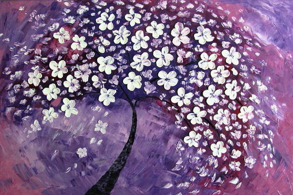 Landscape Art Print featuring the painting Tree In Purple by Mariana Stauffer