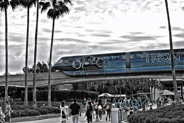 Tron Art Print featuring the photograph Tron Monorail Wdw In Sc by Thomas Woolworth
