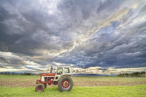 Farming Art Print featuring the photograph Turbo Tractor Country Evening Skies by James BO Insogna