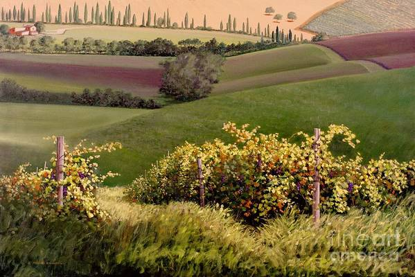 Grapevine Art Print featuring the painting Tuscan Hills by Michael Swanson