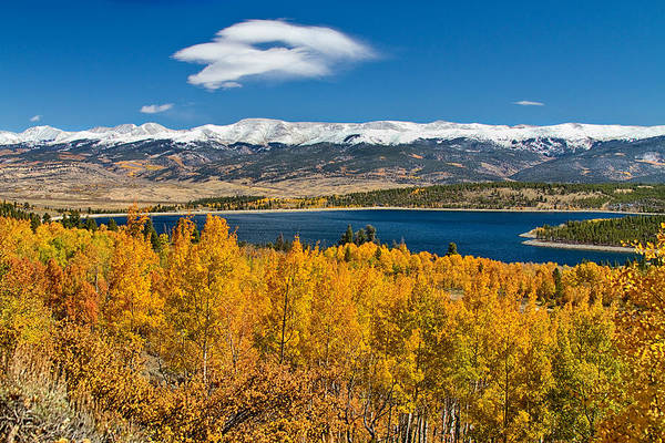 Autumn Art Print featuring the photograph Twin Lakes Colorado Autumn Snow Dusted Mountains by James BO Insogna