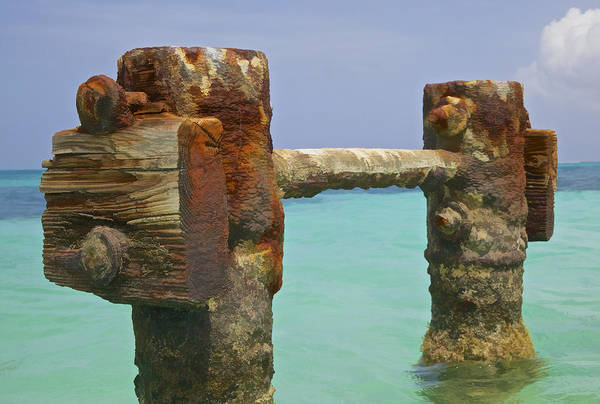Aruba Art Print featuring the painting Twin Rusted Dock Piers Of The Caribbean by David Letts