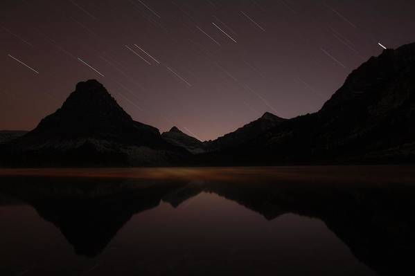 Landscape Art Print featuring the photograph Two Medicine Lake Just After Sunset by Kevin Sebold