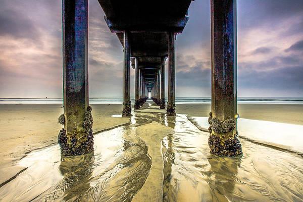 Ocean Art Print featuring the photograph Under Scripps Pier by Robert Aycock