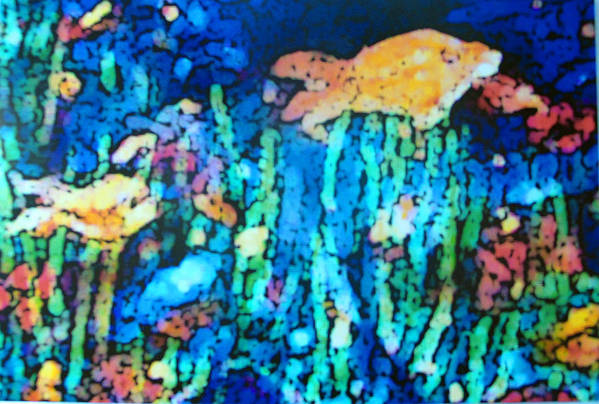Animals Art Print featuring the pastel Underwater Landscape by Tolere