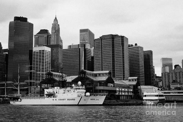 Usa Art Print featuring the photograph Us Coastguard Cutter Vessel Ship Berthed In Lower Manhattan New York City by Joe Fox