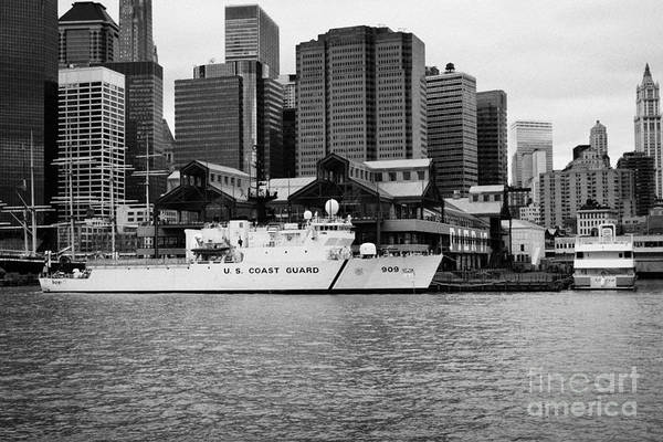 Usa Art Print featuring the photograph Us Coastguard Cutter Vessel Ship Berthed In Lower Manhattan On The East River New York City by Joe Fox