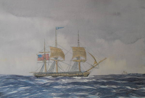 Watercolor Art Print featuring the painting Us Frigate Gives Chase In Stormy Weather by Elaine Jones