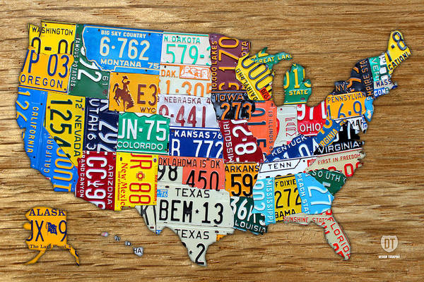 License Plate Map Art Print featuring the mixed media Usa License Plate Map Car Number Tag Art On Light Brown Stained Board by Design Turnpike