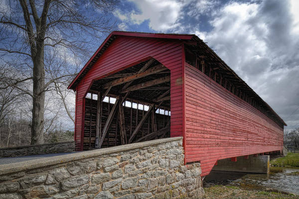 Utica Mills Print featuring the photograph Utica Mills Covered Bridge by Joan Carroll