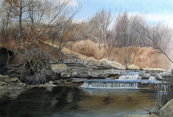 Landscape Art Print featuring the painting V-highway Creek by Denny Dowdy