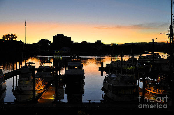 Boats Art Print featuring the digital art Victoria Harbor Sunset 3 by Kirt Tisdale