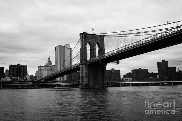 Usa Art Print featuring the photograph View Of New York From Beneath The Brooklyn Bridge New York by Joe Fox