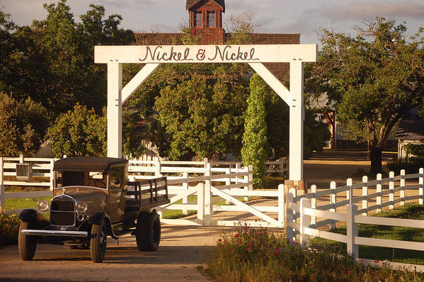 Vintage Truck Wood Railed Flatbed Fence Posts White Fence Wooden Farm Vineyard Nickel And Nickel Vineyards Napa California Ca Art Print featuring the photograph Vineyard Trucking by Holly Blunkall