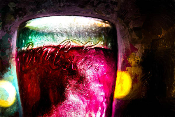 Coke Art Print featuring the painting Vintage Coca Cola Glass With Ice by Bob Orsillo