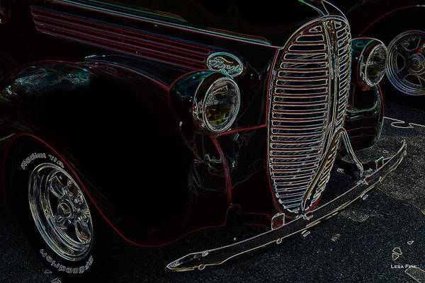 Ford Art Print featuring the photograph Vintage Ford Neon Art Grill by Lesa Fine