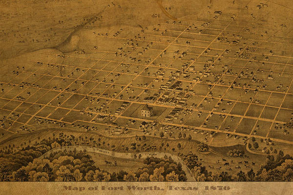 Vintage Art Print featuring the mixed media Vintage Fort Worth Texas In 1876 City Map On Worn Canvas by Design Turnpike