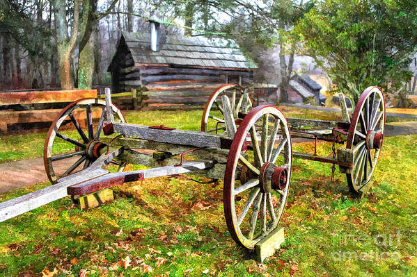 North Carolina Art Print featuring the photograph Vintage Wagon On Blue Ridge Parkway I by Dan Carmichael