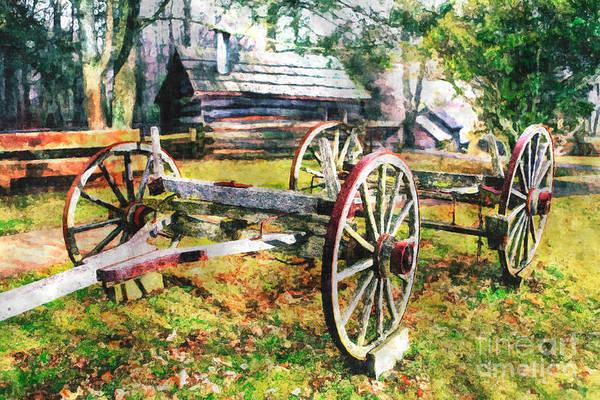 North Carolina Art Print featuring the painting Vintage Wagon On Blue Ridge Parkway II by Dan Carmichael