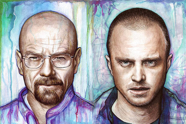 Breaking Bad Art Print featuring the painting Walter And Jesse - Breaking Bad by Olga Shvartsur