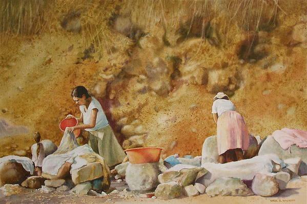 Women Art Print featuring the painting Washerwomen by Karol Wyckoff