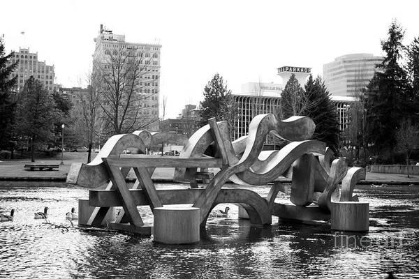 Spokane Print featuring the photograph Water Sculpture In Spokane by Carol Groenen