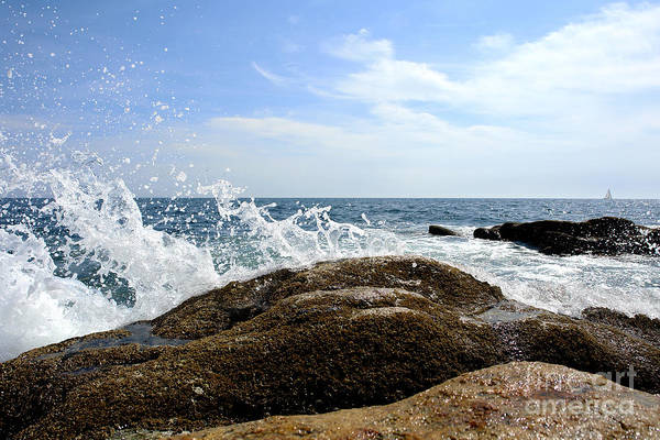 Maine Art Print featuring the photograph Waves Crashing by Olivier Le Queinec