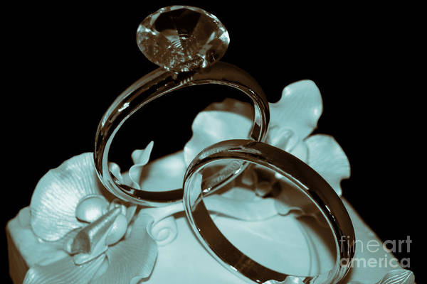 Wedding Ring Art Print Featuring The Photograph Cake Topper Cyan By Lesa Fine