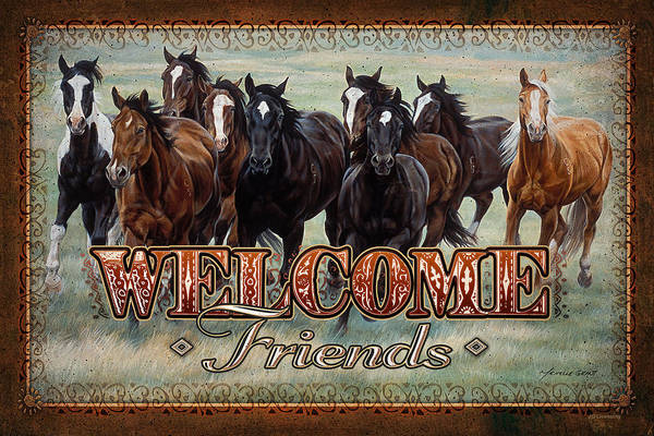 Michelle Grant Art Print featuring the painting Welcome Friends Horses by JQ Licensing