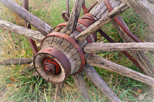 Wagon Wheel Print featuring the photograph Wheel Of Old by Marty Koch