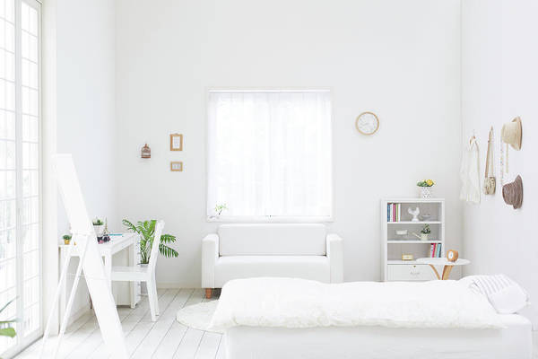 Domestic Room Art Print featuring the photograph White Bedroom by Bloom Image
