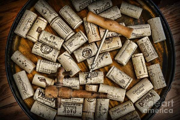 Wine Art Print featuring the photograph Wine Corks On A Wooden Barrel by Paul Ward