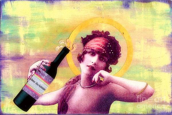 Vintage Art Print featuring the painting Wine Of Love by Desiree Paquette