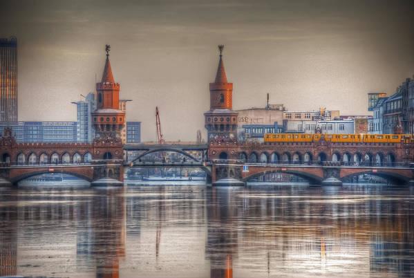 Sunset Art Print featuring the digital art Winter Bridge by Nathan Wright