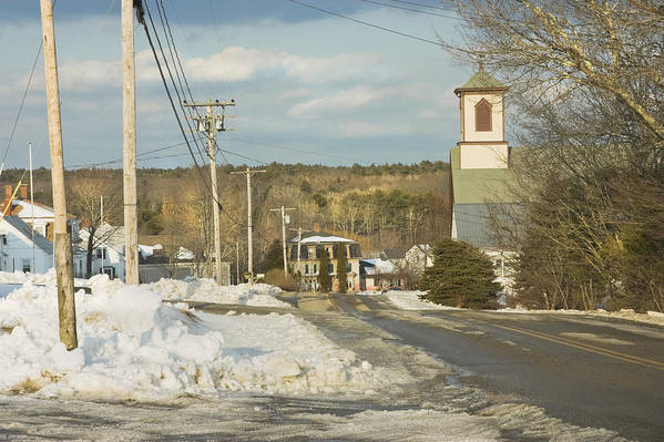 Town Art Print featuring the photograph Winter In Round Pond Maine by Keith Webber Jr