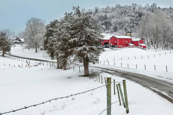 Old Red Barn Art Print featuring the photograph Winter Road by Bill Wakeley