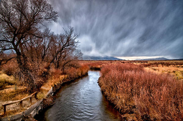 River Art Print featuring the photograph Winter Storm Over Owens River by Cat Connor