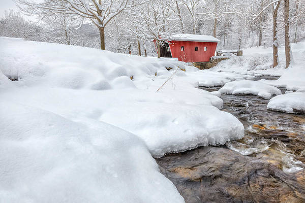 Covered Bridge Art Print featuring the photograph Winter Stream by Bill Wakeley
