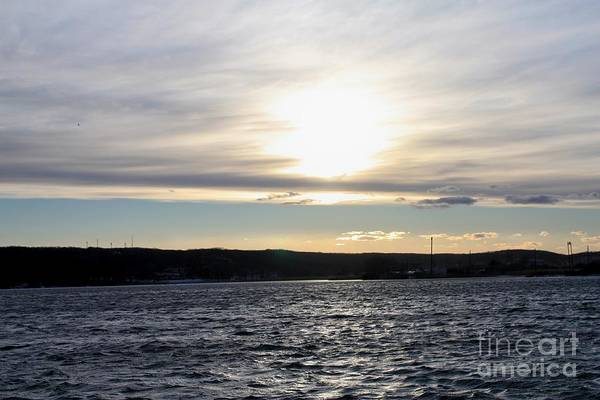 Winter Sunset Over Gardiner's Bay Art Print featuring the photograph Winter Sunset Over Gardiner's Bay by John Telfer
