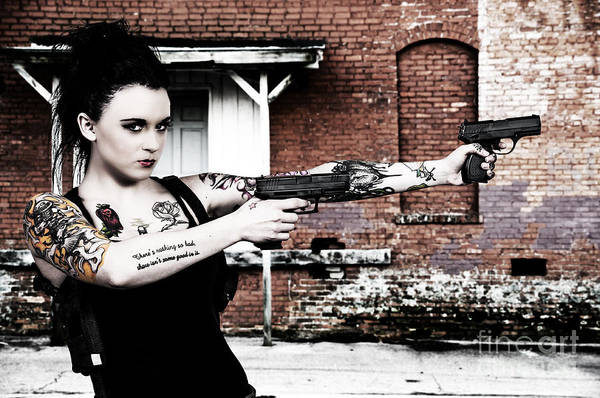 Agent Art Print featuring the photograph Woman With Pistols by Rob Byron